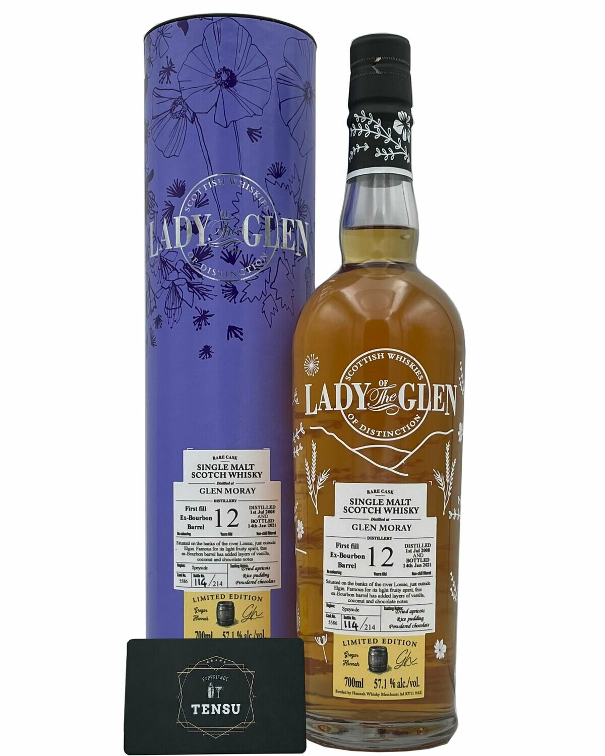 """Glen Moray 12 Years Old (2008-2021) 57.1 """"Lady of the Glen"""" [SAMPLE 2CL]"""