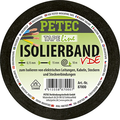 Petec elektrische isolatietape rol 10 m x 15 mm x 0,15 mm