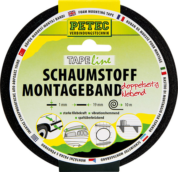 Petec schuimstof montagetape 10 m x 19 mm
