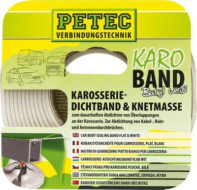 Petec butyl carrosserie afdichtband vlak wit 3 m x 20 mm