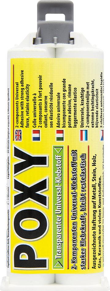 Petec poxy 2-comp. lijm transparant 50 ml + mengneus