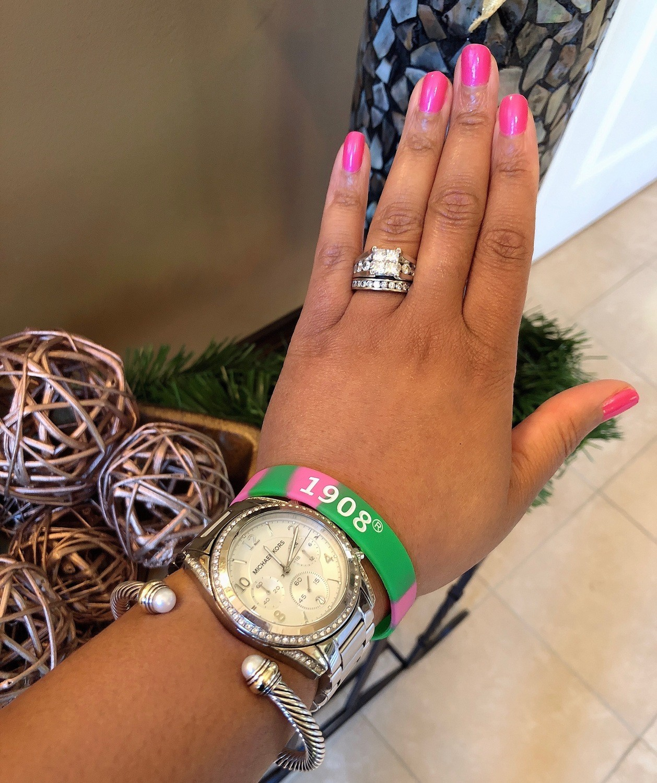 Pink and Green AKA/1908 wristband