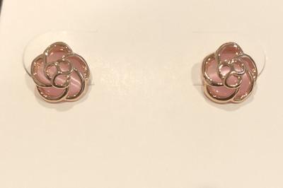 Pink Tea Rose Earrings