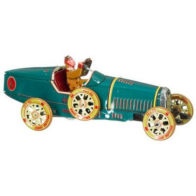 Racewagen bugatti groen, bruine bestuurder