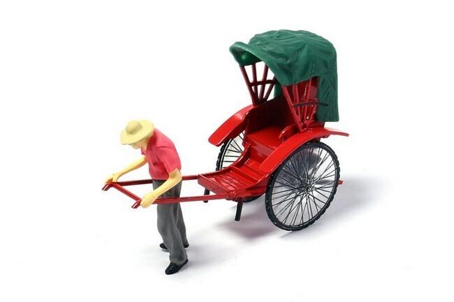 Rickshaw met figuur