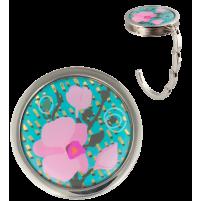 Handtashanger turquoise bloem