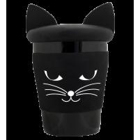Beker met deksel kat zwart