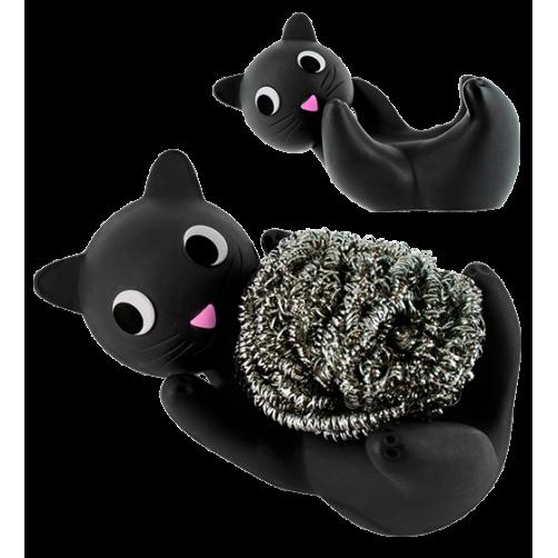 Metaalsponsje in zwart katje