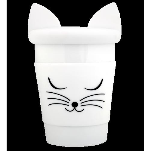 Beker met deksel kat wit