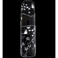 Thermos zwart met bloem