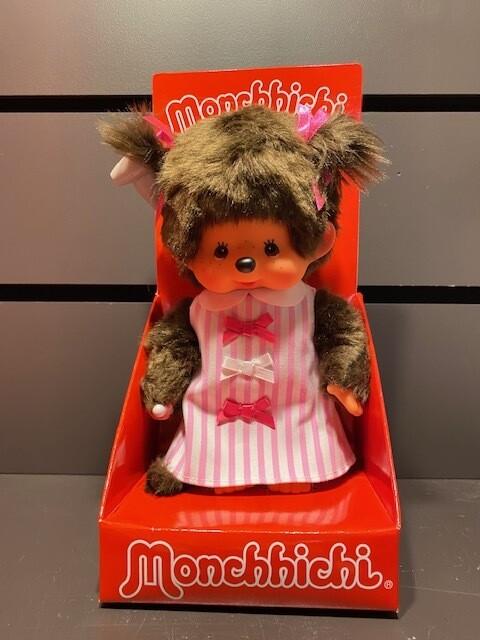 Roos ruitjes kleedje Monchhichi