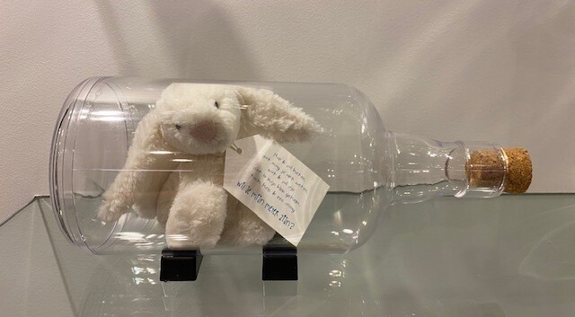 Message in een fles met konijn peter