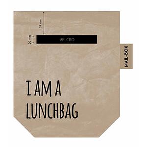 Lunchbag bruin uit 100% wasbaar papier.