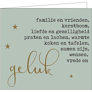 Kerstkaartje: familie, vrienden, kerstboom,...