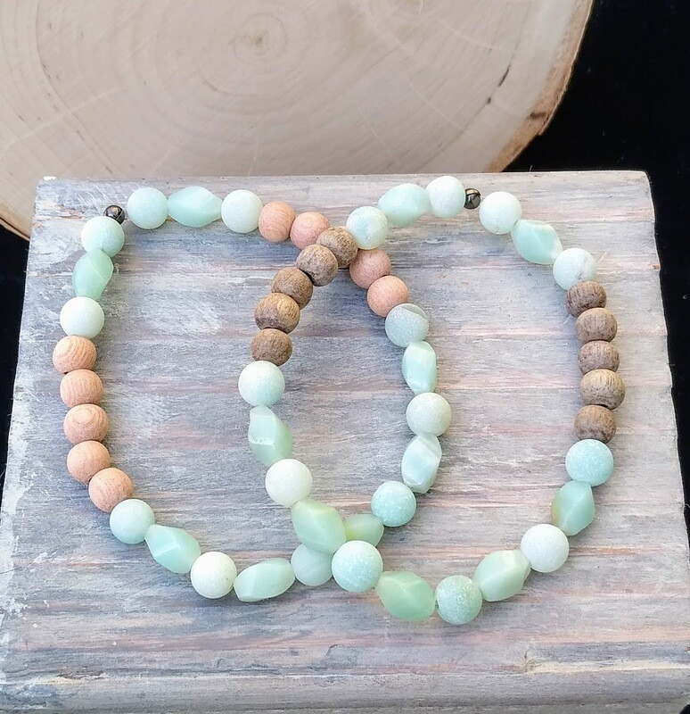 Amazonite ~HOPE CONFIDENCE CLARITY~ Twists Essential Oil Infusion Bracelet
