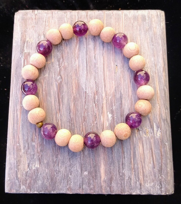 Amethyst~ INTUITION SPIRITUALITY STRENGTH~ Essential Oil Infusion Bracelet
