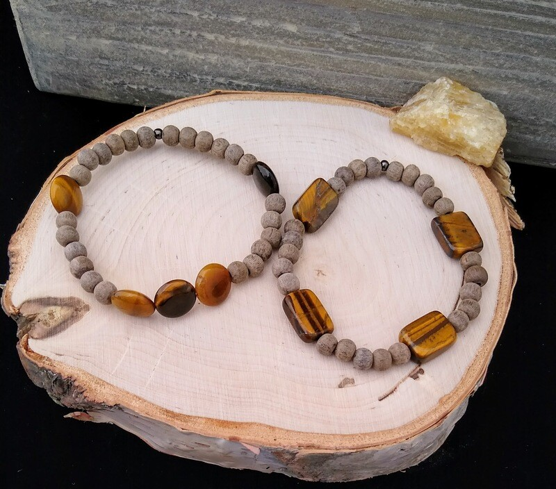 Tiger's Eye~ BALANCE CREATIVITY POWER~ Essential Oil Infusion Bracelet (coin)