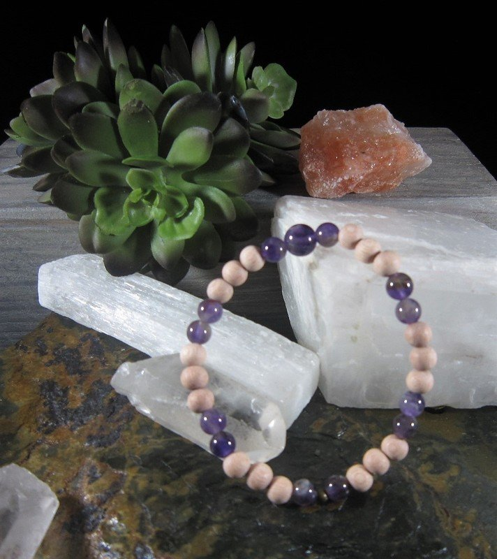 Amethyst ~BALANCE WISDOM STRENGTH~ Essential Oil Infusion Bracelet
