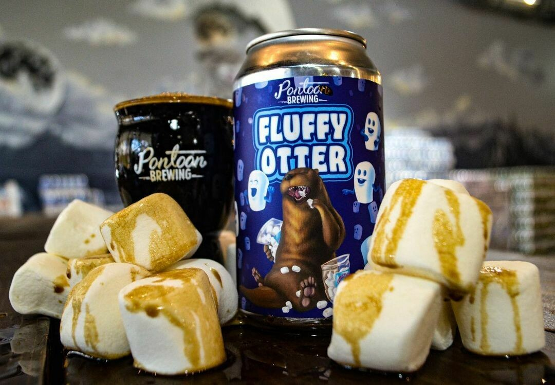 Pontoon Brewing Fluffy Otter Oatmeal Cream Milk Stout with Marshmallow, Vanilla & Lactose (4-PACK)