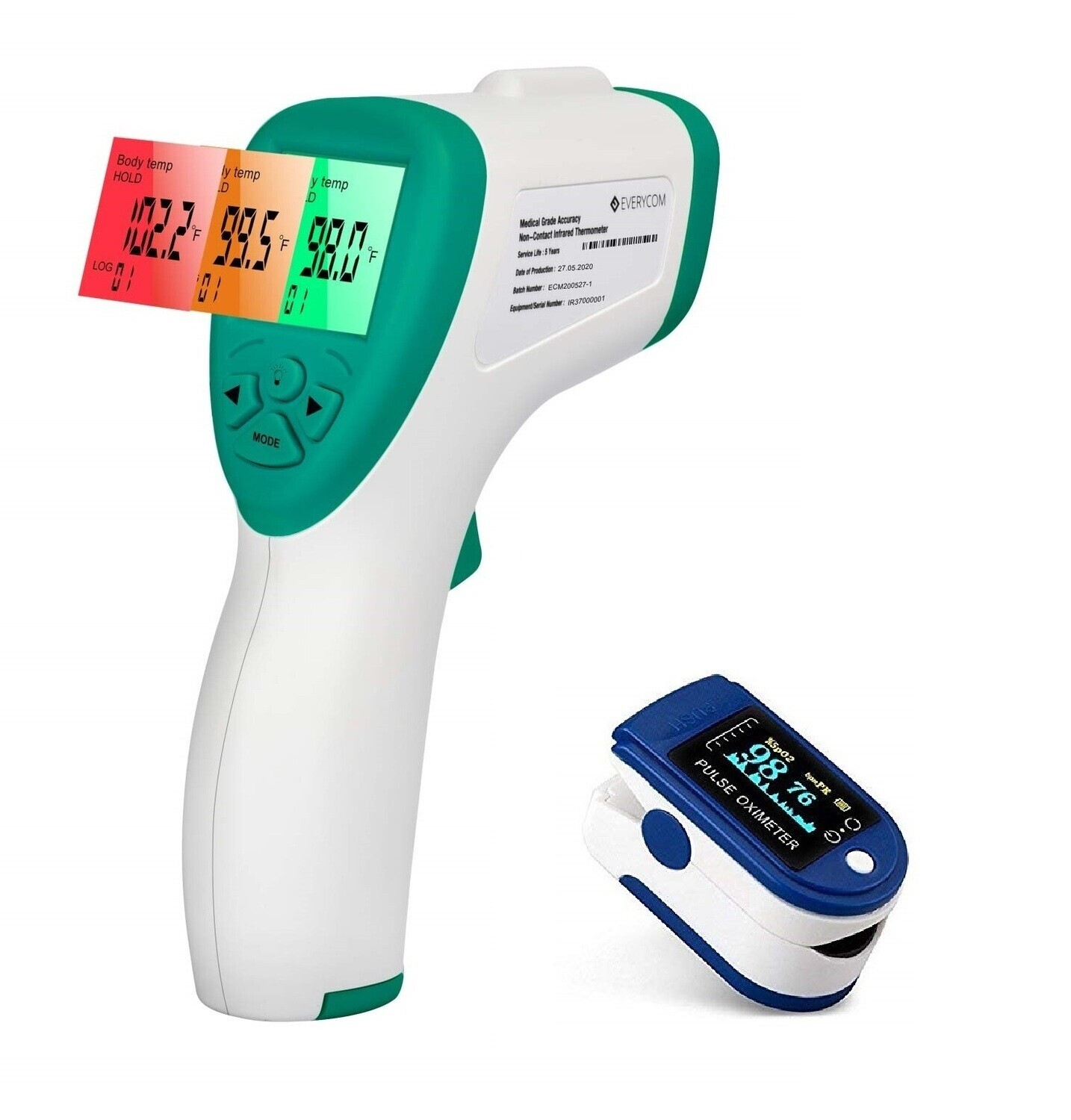 Pulse Oximeter and Non Contact Infrared Thermometer Combo