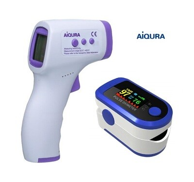 Finger Tip Pulse Oximeter FDA Approved Infrared Thermometer Combo