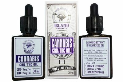 210mg CBD: 210mg THC Tincture (Full Spectrum) (30ml) by Island Extracts (New Tops To Prevent Leaking)