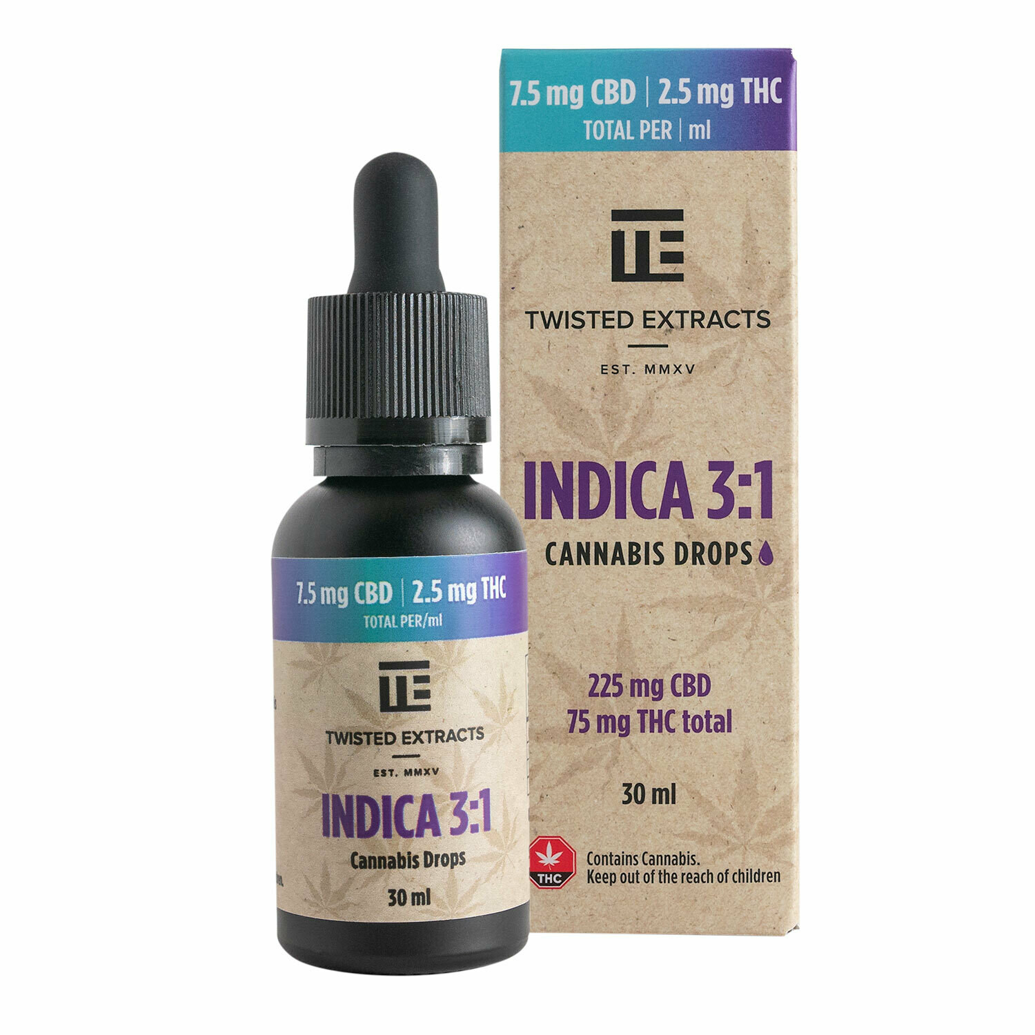 (225mg CBD + 75mg THC) Indica 3:1 Oil Drops By Twisted Extracts *** Now Orange Flavored ***