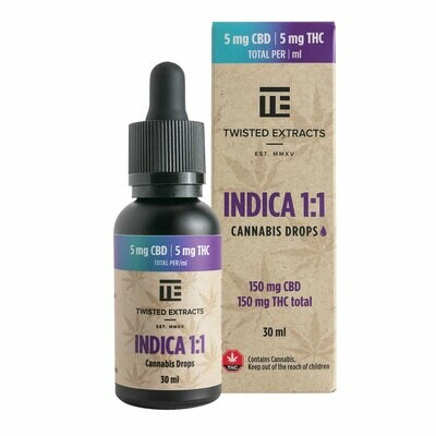 (150mg THC + 150mg CBD) Indica 1:1 Oil Drops By Twisted Extracts *** Now Orange Flavored ***