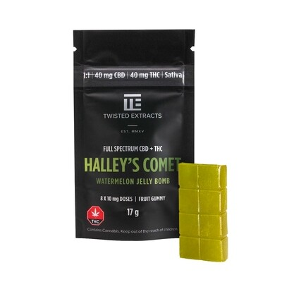 40mg 1:1 THC/CBD Watermelon Halley's Comet Jelly Bomb (Full Spectrum) By Twisted Extracts