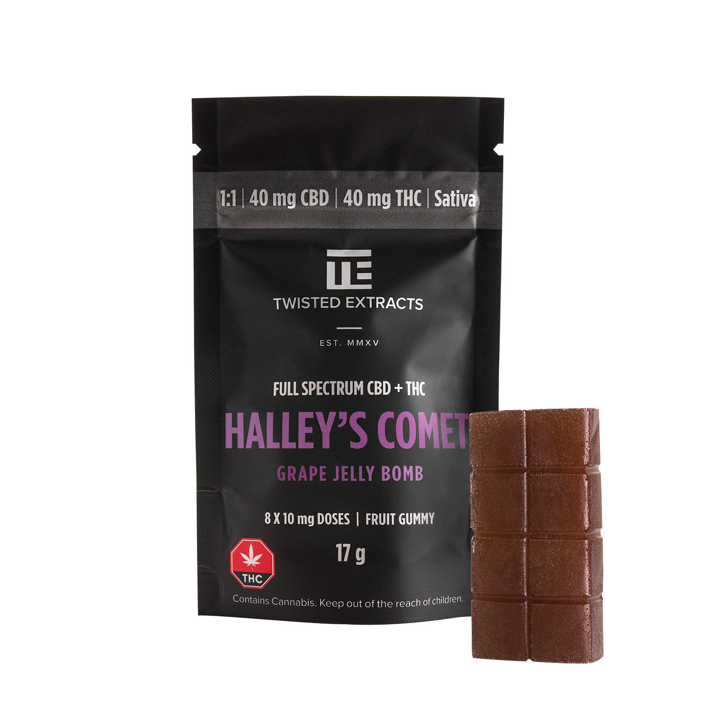 40mg 1:1 THC/CBD Grape Halley's Comet Jelly Bomb (Full Spectrum) By Twisted Extracts