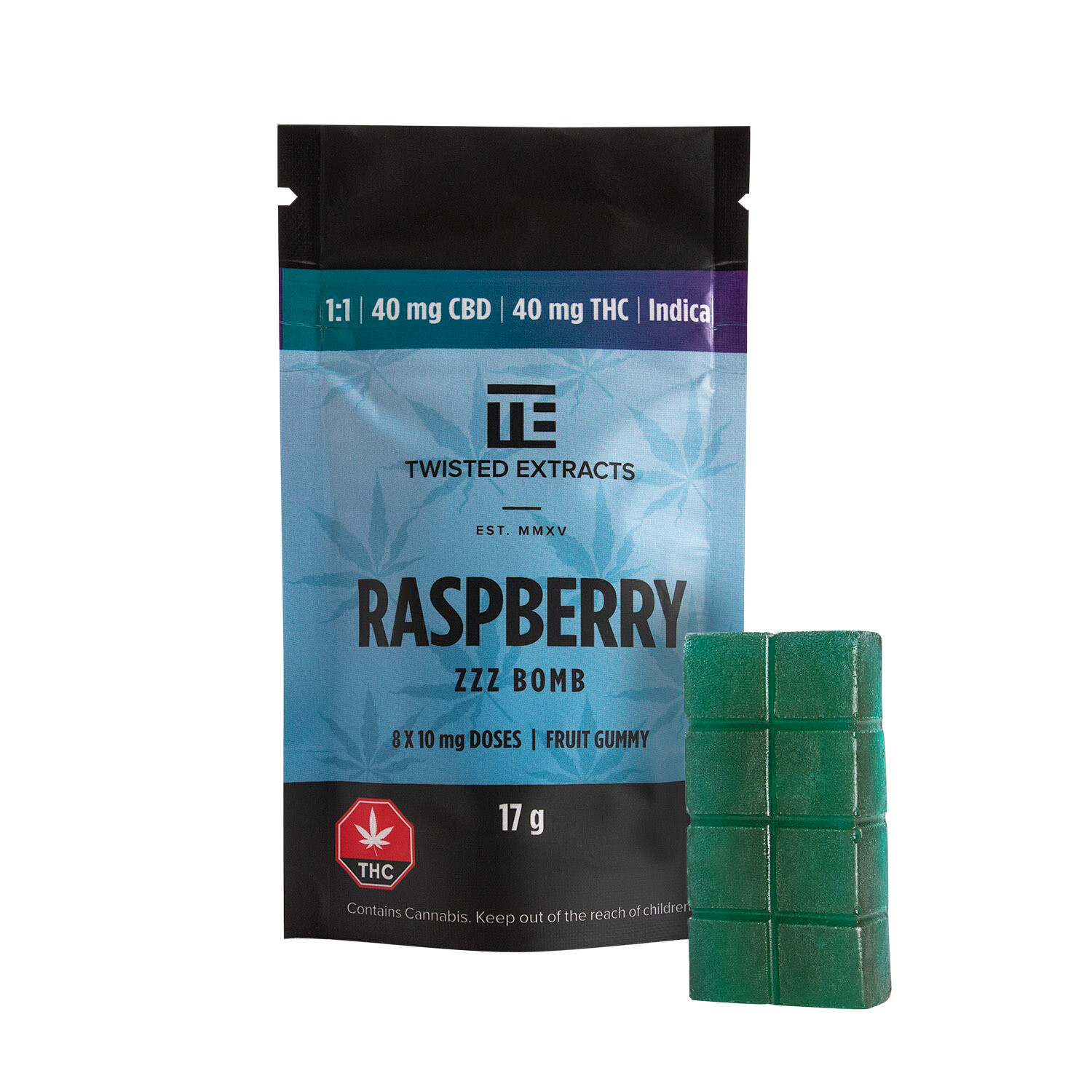 40mg 1:1 THC/CBD Raspberry ZZZ Bomb by Twisted Extracts