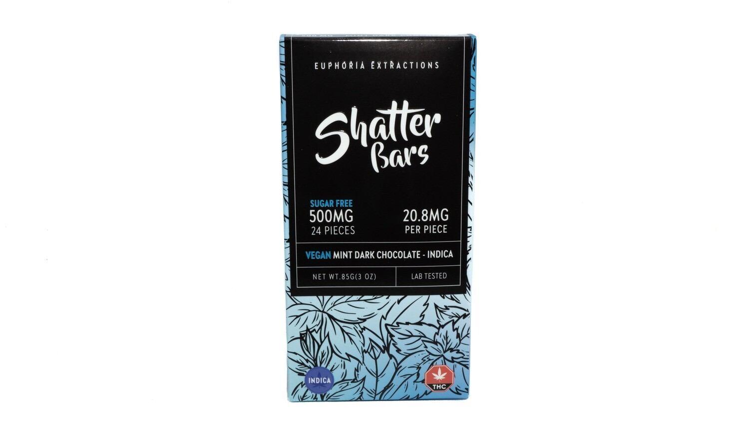 Vegan Mint Dark Chocolate Indica Shatter Bar By Euphoria Extractions (Sugar Free) (500mg) (Current Strain: King Louis)