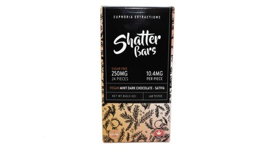 Vegan Mint Dark Chocolate Sativa Shatter Bar By Euphoria Extractions (Sugar Free) (250mg) (Current Strain: Strawberry Haze)