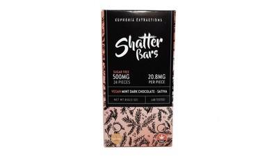 Vegan Mint Dark Chocolate Sativa Shatter Bar By Euphoria Extractions (Sugar Free) (500mg) (Current Strain: Strawberry Haze)