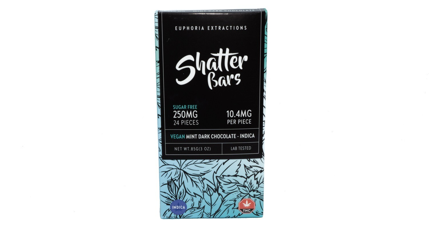 Vegan Mint Dark Chocolate Indica Shatter Bar By Euphoria Extractions (Sugar Free) (250mg) (Current Strain: King Louis)