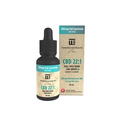 (300mg CBD + 14mg THC) Full Spectrum CBD Oil Drops by Twisted Extracts  *** Now Orange Flavored ***