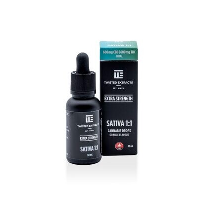(600 THC + 600 CBD) Sativa 1:1 Orange Flavoured Oil Drops By Twisted Extracts