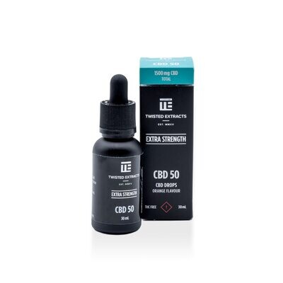 (1500mg CBD) CBD 50 Orange Flavored Oil Drops By Twisted Extracts