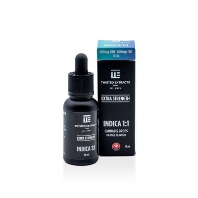 (600 THC + 600 CBD) Indica 1:1 Orange Flavoured Oil Drops By Twisted Extracts