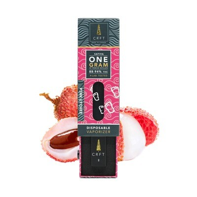 (1ml) Pink Lychee (Sativa) Disposable Vape By Crft Cannabis