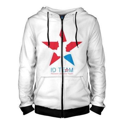 Толстовка на молнии ID TEAM белая - Звезда/хештег