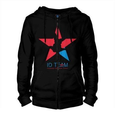 Толстовка на молнии ID TEAM черная - Звезда/хештег