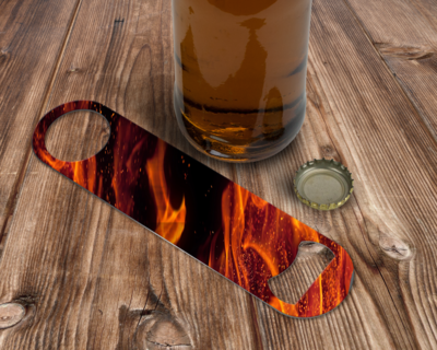 Custom Orange Flame Bottle Opener