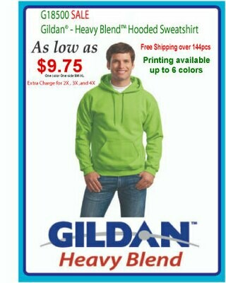 BULK- Gildan G18500 Heavy Blend Hooded Sweatshirt