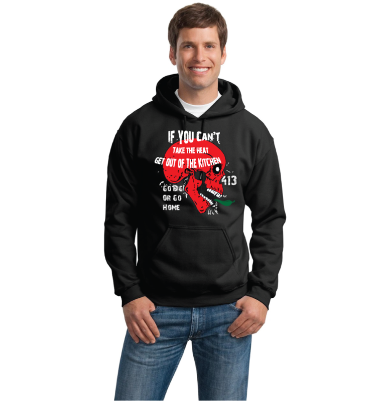 Men's Crew-Neck Shirt Skull Can't Take the Heat Kitchen Hoodie