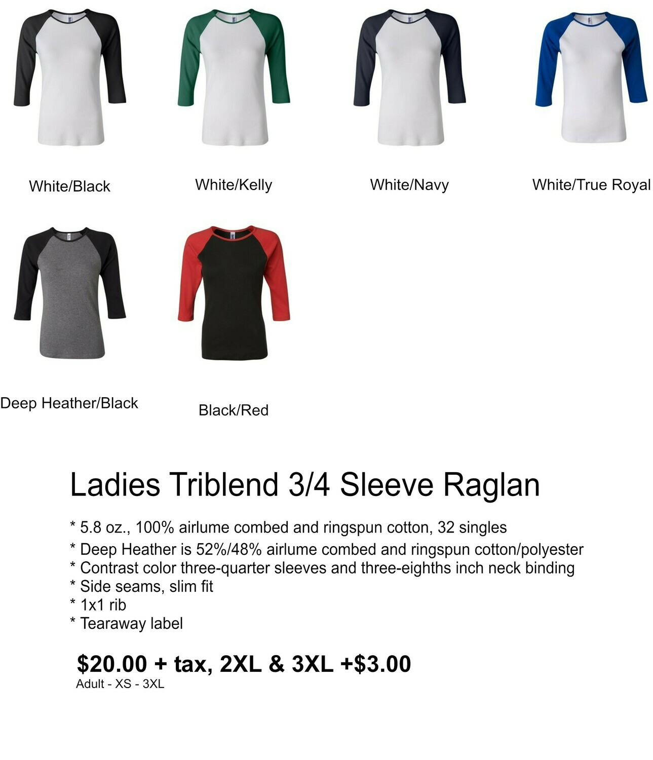 Ladies TriBlend 3/4 Sleeve Raglan