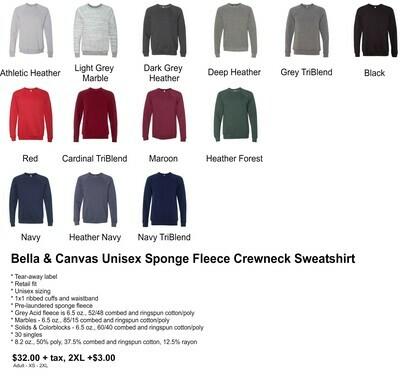 Bella & Canvas Unisex Sponge Fleece Crewneck Sweatshirt