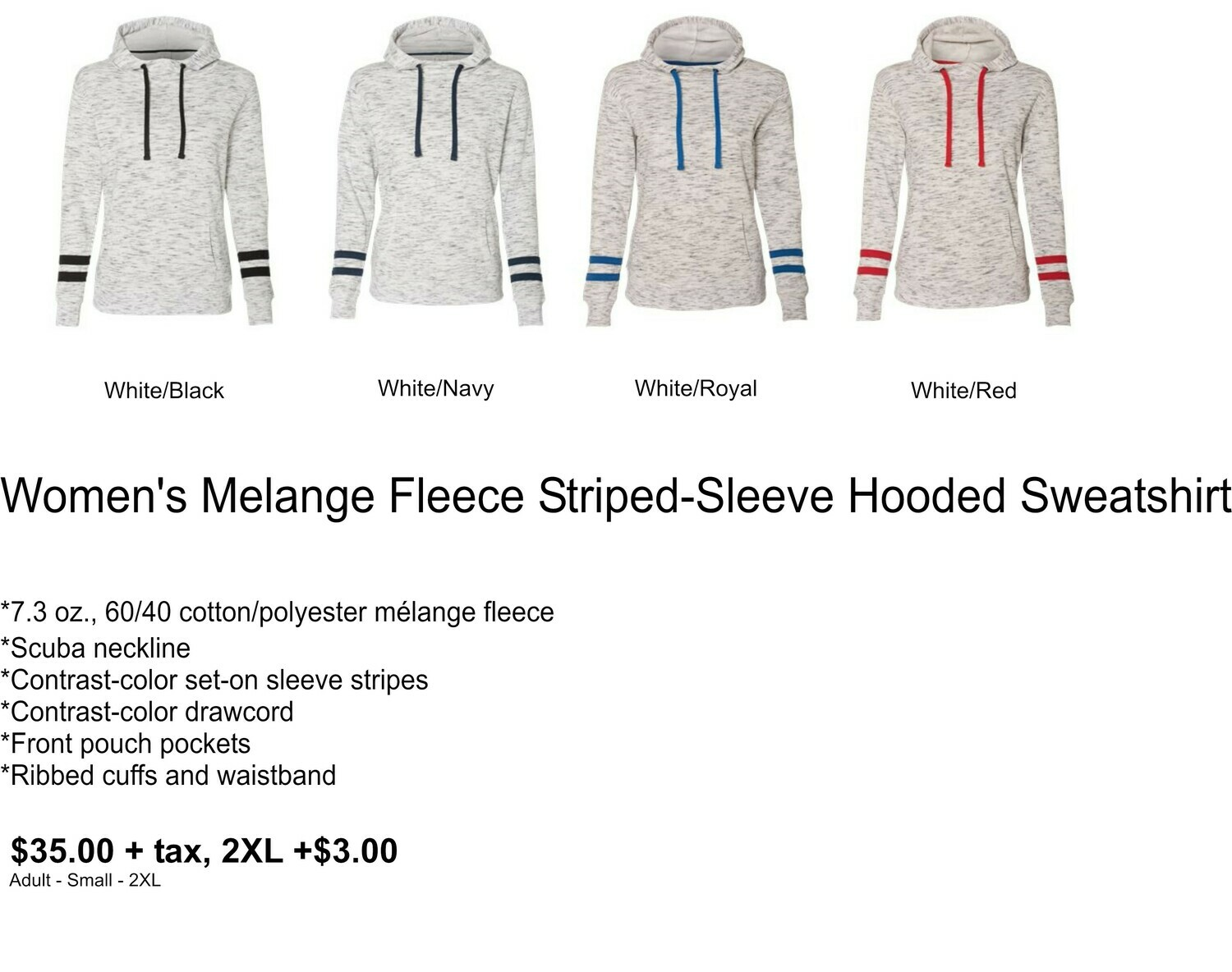 Women's Melange Fleece Striped-Sleeve Hooded Sweatshirt