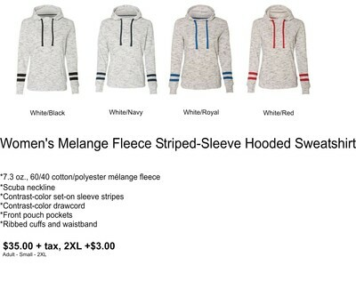 Women's Melange Fleece Striped-Sleeve Hooded Sweatshirt