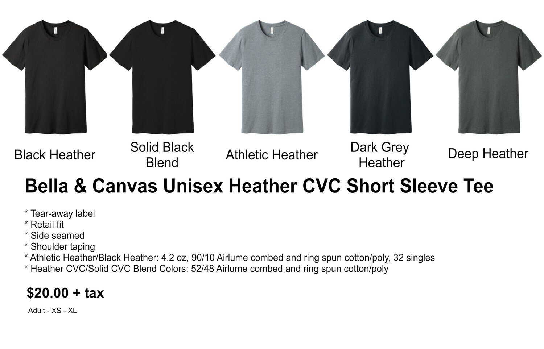 Bella & Canvas Unisex Heather CVC Short Sleeve Tee